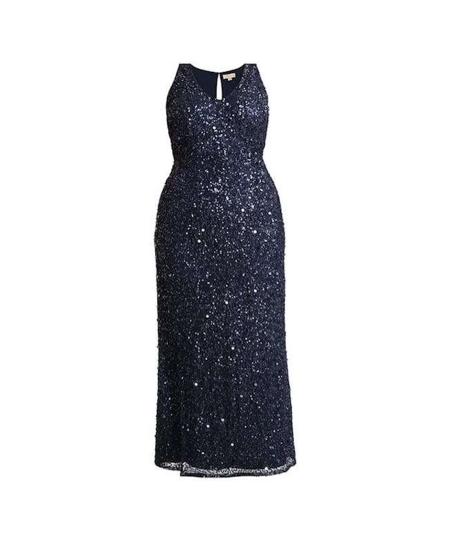Zum Feste feiern: wunderbares Kleid mit blauen Pailetten