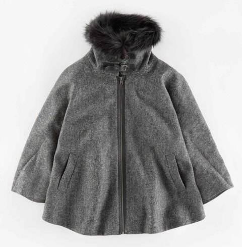 graues Tweed-Cape mit Pelzkragen von Boden