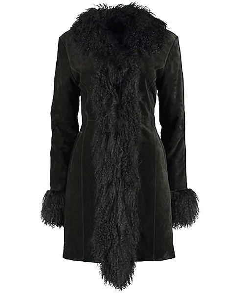 schwarze Lederjacke im Stil der 70iger Jahre