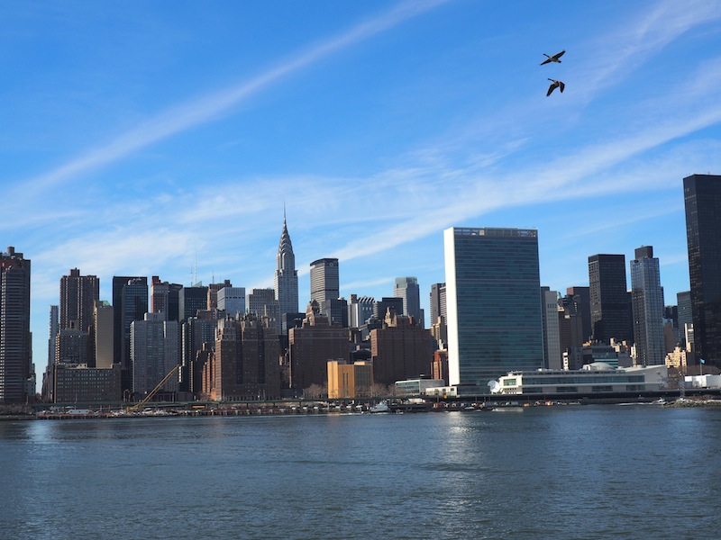 Blick auf Manhattan von der Eastriver Ferry