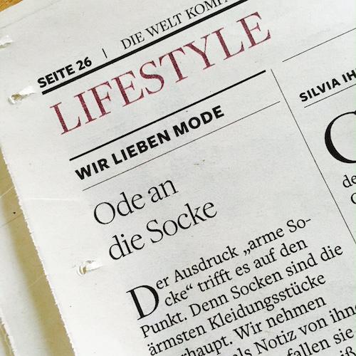 Modekolumne für die WELT Kompakt: Ode an die Socke. Eine Liebeserklärung.