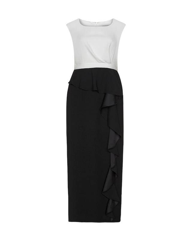 Für Plussize-Fashionistas: Elegantes Abendkleid in Schwarz-Weiß mit kleinem Volant