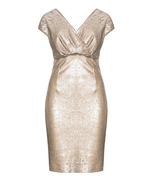 Gold-silbernes Cocktail-Kleid in Wickeloptik