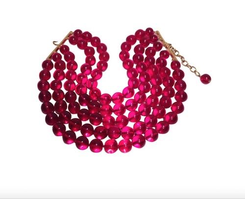 Vintage-Halskette von Chanel mit roten Perlen